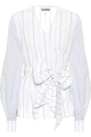 Ganni Camisa wrap de algodón de rayas