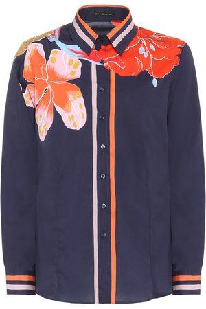 Etro Blusa de seda elastizada floral