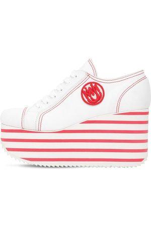 Miu Miu Sneakers De Algodón Con Plataforma 100mm