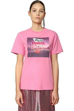 Paco rabanne   Mujer Camiseta De Jersey De Algodón Estampada Xxs