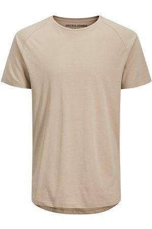 Jack & Jones Organic Cotton Curved Hem T-shirt Men Beige; Brown