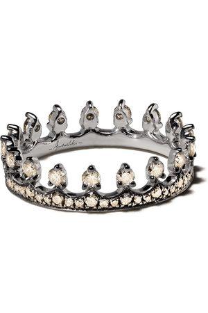 ANNOUSHKA Anillo con motivo de corona en oro blanco de 18kt con diamante