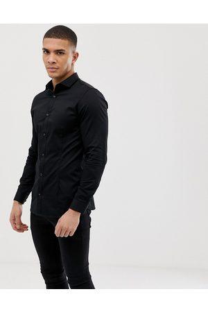 Jack & Jones Hombre De vestir - Camisa de vestir de corte slim elástico en negro Premium de
