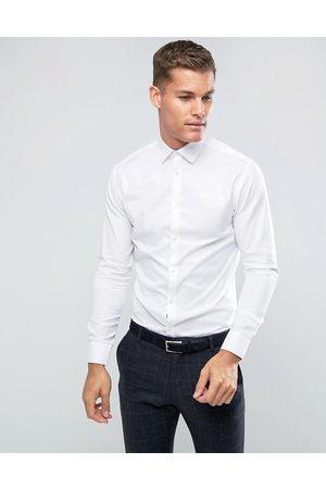 Selected Camisa de vestir de corte slim fácil de planchar en blanco de
