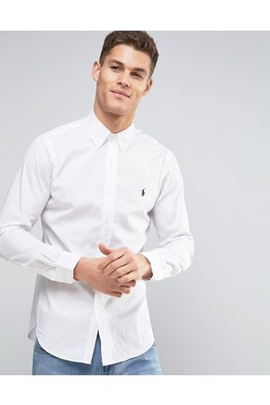 Polo Ralph Lauren Camisa de popelina blanca de corte slim de -Blanco