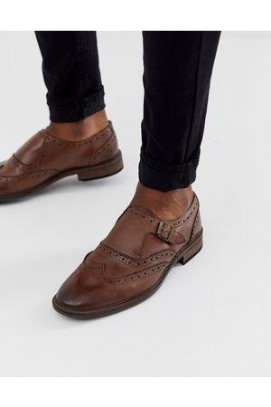 ASOS Zapatos Monk de cuero marrón con detalles tipo Oxford de