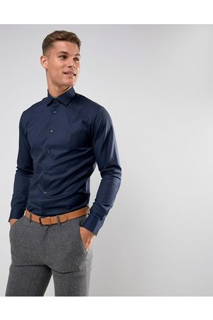 Selected Camisa de vestir de corte slim fácil de planchar en azul marino de