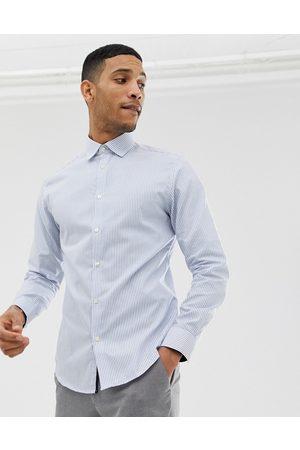 Selected Hombre De vestir - Camisa de vestir de corte slim fácil de planchar a rayas en azul claro de