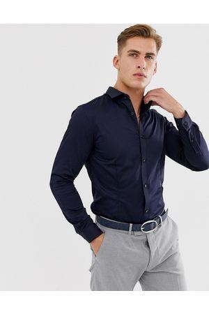 Jack & Jones Camisa de vestir de corte slim elástico en azul marino Premium de