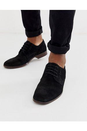 ASOS Zapatos Derby de ante negro con suela natural de