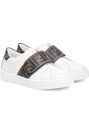 Fendi Zapatillas de piel con logo
