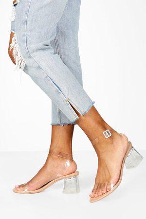 Boohoo Zapatos De Tacón De Bloque Bajo Transparente De 2 Piezas, Color Carne