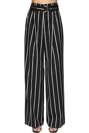 Proenza Schouler | Mujer Pantalones De Sarga De Lana Con Cintura Alta /blanco 0