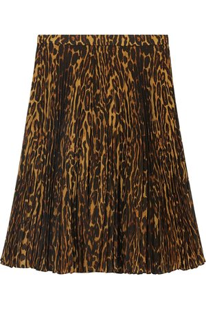 Burberry Falda con motivo de leopardo y pliegues