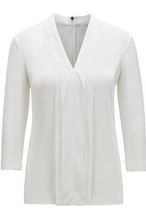 HUGO BOSS Mujer Tops - Top de cuello en pico en crepé de seda con elástico