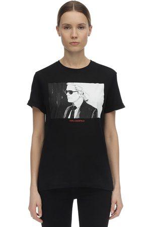 Karl Lagerfeld   Mujer Camiseta De Jersey De Algodón Estampada Xs