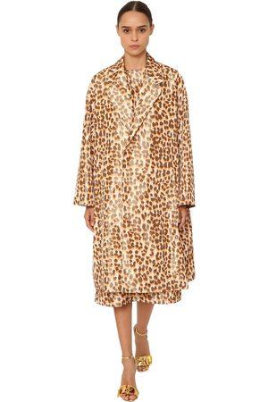 Rochas | Mujer Abrigo De Tafetán De Seda Con Estampado Leopardo 38