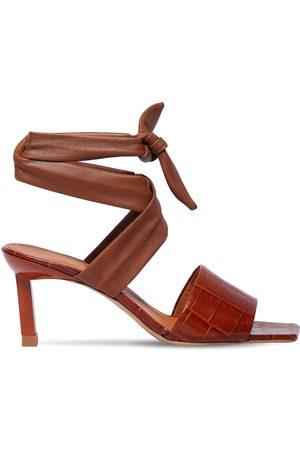 Ganni | Mujer Sandalias De Piel Efecto Cocodrilo 45mm 40
