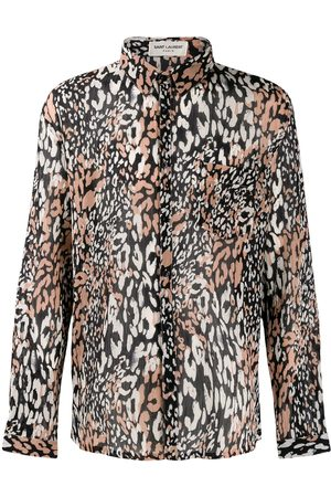 Saint Laurent Camisa de manga larga con estampado de leopardo