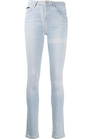 Philipp Plein Mujer Cintura alta - Vaqueros pitillo de talle alto