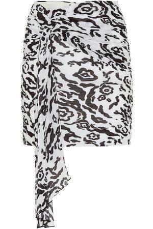 Self-Portrait Leopard-print chiffon miniskirt