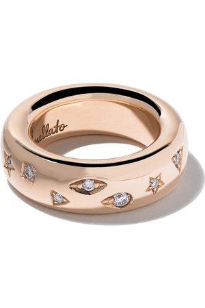 Pomellato Anillo Iconica con banda mediana y diamantes en oro rosa 18kt