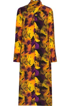 Ganni Vestido midi con motivo floral