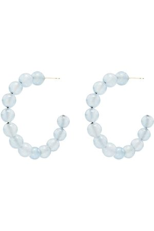 LOREN STEWART 14K yellow gold and azure hoop earrings