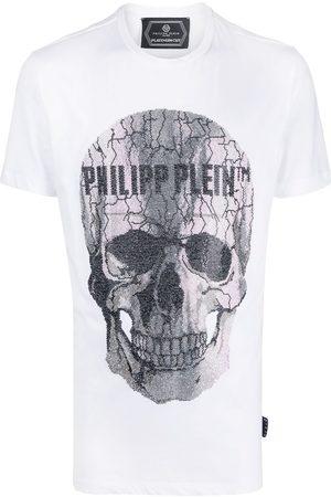Philipp Plein Camiseta con calavera y logo con detalles de strass