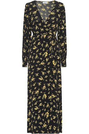 Ganni Vestido largo de crepé floral