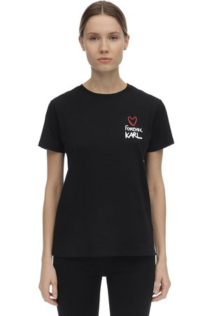 Karl Lagerfeld   Mujer Camiseta De Algodón Jersey Con Estampado Xs