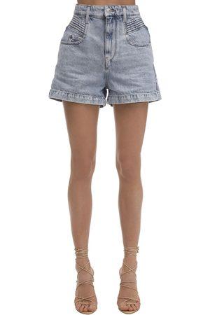 Isabel Marant | Mujer Shorts De Denim De Algodón Con Cintura Alta 34