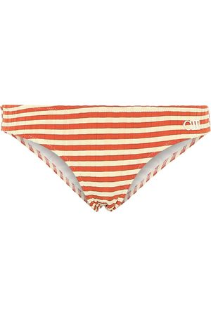 Solid Elle striped bikini bottoms