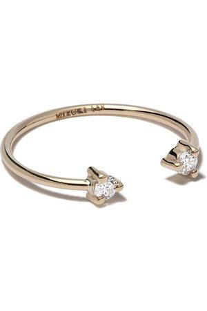 Mizuki Anillo abierto en oro amarillo de 14kt con diamantes