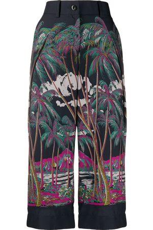 SACAI Beach print cropped trousers