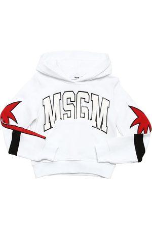 Msgm   Niña Sudadera De Algodón Con Logo Y Parches 8a