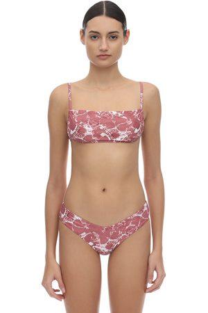 ONIA Leigh Marble Printed Bikini Top
