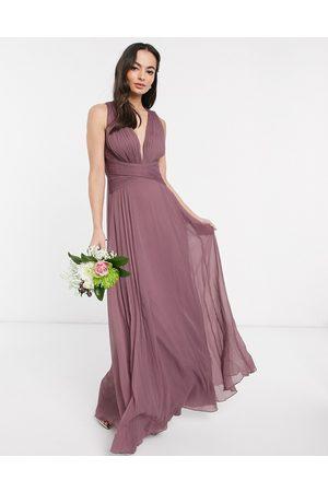 ASOS Vestido largo de dama de honor con diseño drapeado, cuerpo fruncido y cintura cruzada de -Rosa