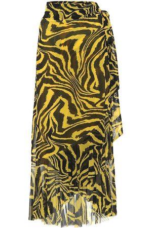Ganni Exclusivo en Mytheresa - falda wrap con estampado animal