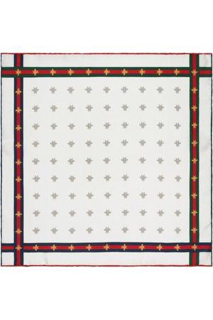 Gucci Hombre Bufandas y Pañuelos - Pañuelo cuadrado de seda con motivo de abeja y tribanda