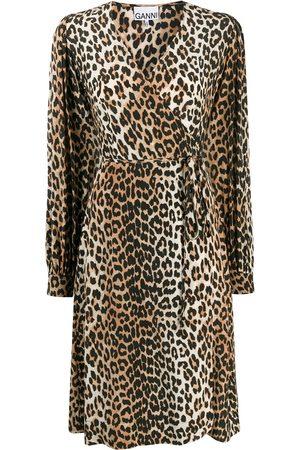 Ganni Mujer Estampados - Vestido midi con estampado de leopardo