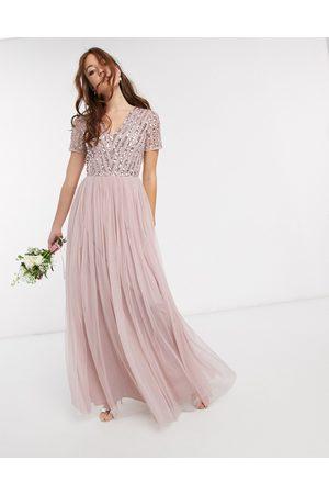Maya Vestido largo de dama de honor con cuello en V y lentejuelas delicadas a tono en rosa de