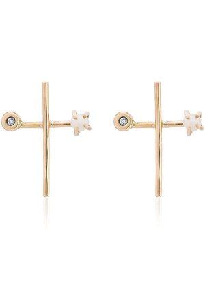 MELISSA JOY MANNING Pendientes en cruz con perla y diamante