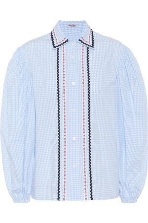 Miu Miu Blusa de algodón de cuadros bordada