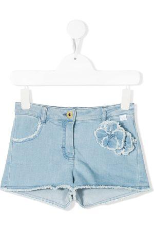 Il gufo Floral appliqué denim shorts