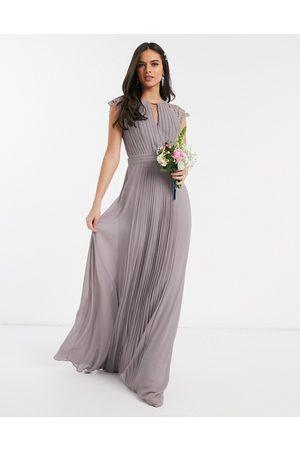 TFNC Vestido largo de dama de honor con manga de encaje en gris de