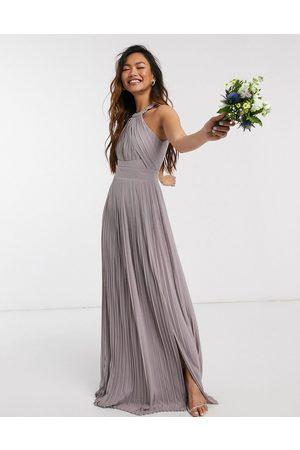 TFNC Vestido largo de dama de honor con diseño plisado en gris exclusivo de