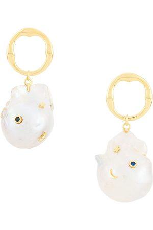 ESHVI Pendiente con detalles de perlas