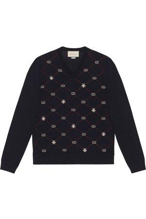Gucci Jersey con cuello en V y motivo en jacquard