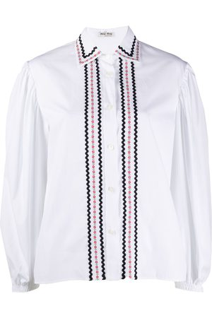 Miu Miu Embroidered balloon-sleeve shirt